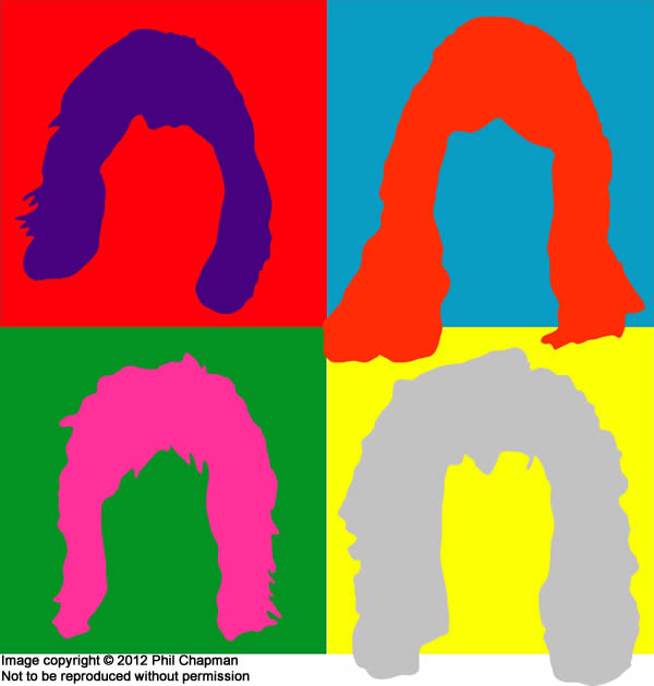 Queen Hot Space cover design with 70s hair